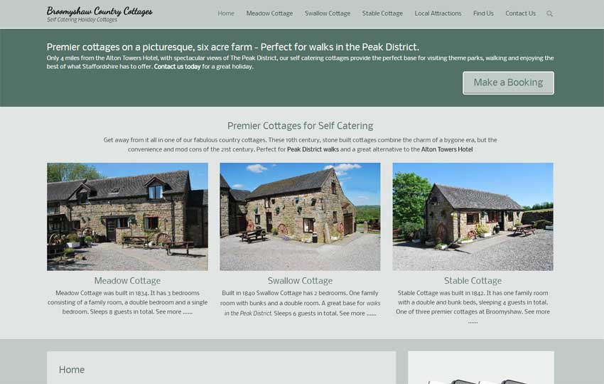 Broomyshaw Self Catering Cottages website