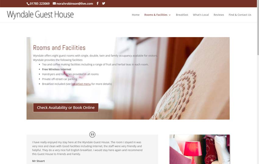 Wyndale Guest House Website